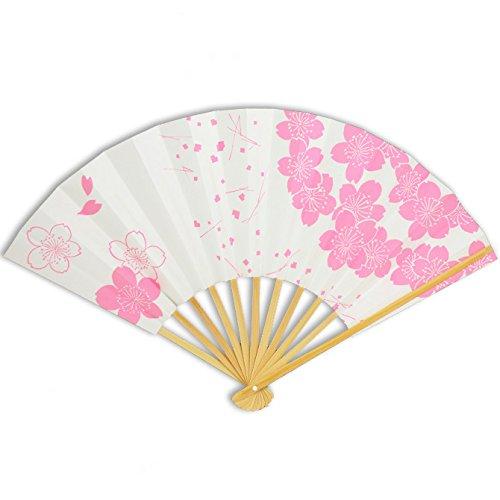 Japanese Geisha Odori Dancing Hand Sensu Stiff Folding Fan, Pink Cherry Blossom Pattern by Yokohama Gifts