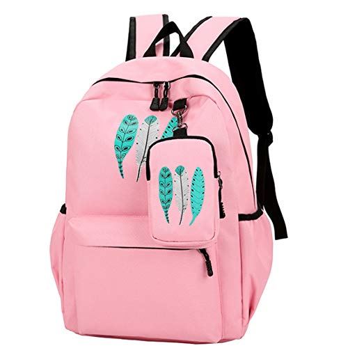 ZhengNongShangMao College Student Bag Couple Backpack with Multi-Pockets School Bookbag Daypack Canvas Travel Bag(Pink)