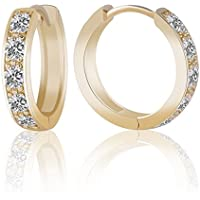 Saengthong Brilliant Jewelry 14k Gold Filled Womens Sapphire Crystal Fashion Hoop Earrings