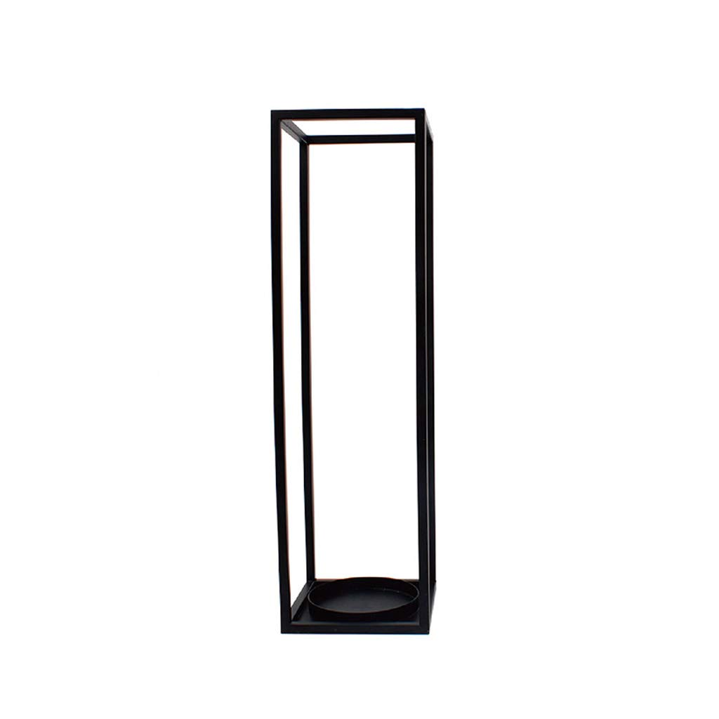 Umbrella Stand Rack,Free Standing Holder for Canes/Walking Sticks, with Hooks, for Hotel Home Office Hallway Storage, Metal (Color : Black, Size : 20×20×69cm(L×W×H))