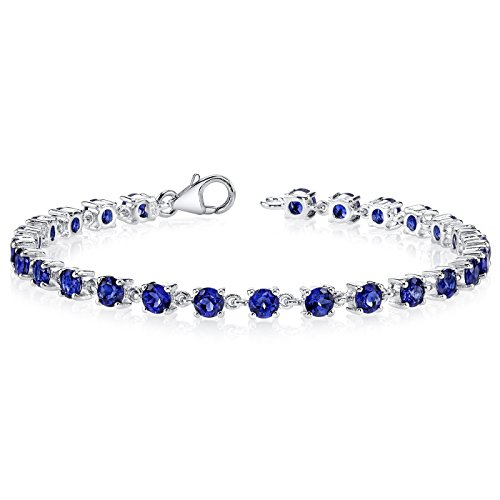 8.00 Carats Created Sapphire Bracelet Sterling Silver Rhodium Nickel Finish Soft Link Style