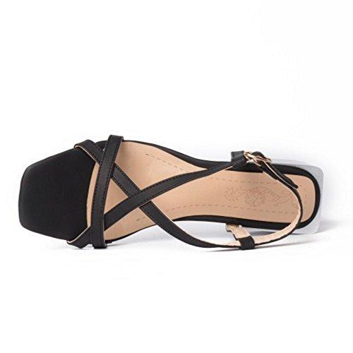 Coolcept Women Fashion Slip On Sandals Block Heel Open Toe Slingback Shoes Size Black TzLwE