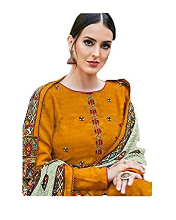 57484e80cf Winter Women's Unstitched Pashmina Dress Material (Latest Design Winter  collection Embroidery Suit_AK_003): Amazon.in: Clothing & Accessories