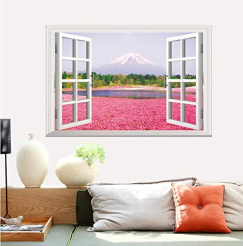 Pink Flower Sea 3D Three-Dimensional Fake Window Landscape Wall Stickers Living Room Bedroom Green Wall Stickers Size 60X90Cm LMYLY (A Kind Of Flower That Begins With D)