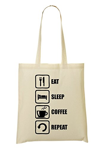 Black Sac Fourre provisions tout Sac à Repeat Sleep Eat Graphic Coffee Funny qIZFw4T