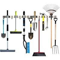 Piyl Broom Mop Holder Wall Mount Metal Tool Organizer Heavy Duty Holds Up to 30 lbs