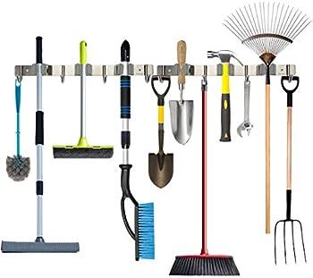 Piyl Broom Mop Holder Wall Mount Metal Tool Organizer