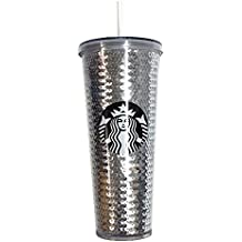 Starbucks Coffee 2017 Holiday Silver Sequin 24oz Venti Cold Cup Tumbler