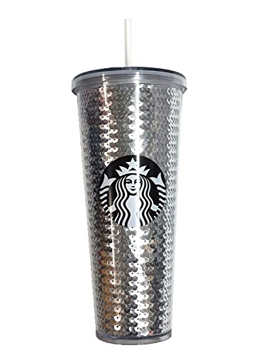 Starbucks Coffee Holiday Silver Sequin 24oz Venti Cold Cup