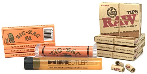 Bundle - 10 Items - Zig Zag Orange 1 1/4 Rolling Papers (4 Packs), 78MM Roller, RAW Pre-Rolled Tips (4 Packs) with Hippie Butler Doob Tube