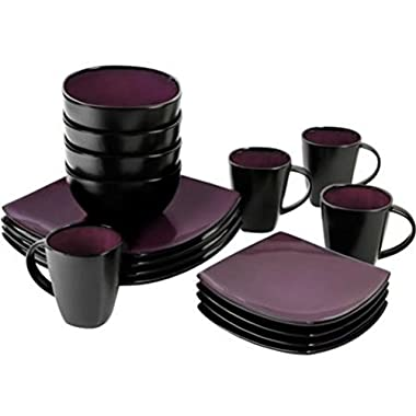 16 Piece Dinnerware Set By Gibson Home. This Soho Lounge Square Dinnerware Set Is an Excellent Choice for Modern Family. It's Simple, Yet Elegant, Just Like Restaurant Dinnerware. (Purple)
