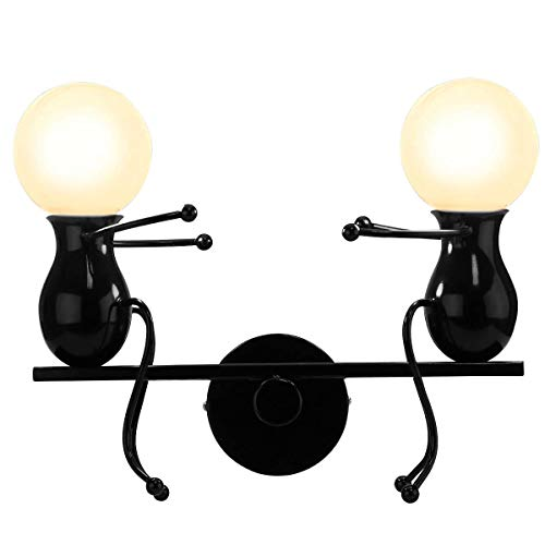 KAWELL Wall Sconces Creative Cartoon Seesaw Double Little People Wall Light Modern Wall Lamp Bedroom Doll Bedside Lamp Art Decor Iron Holder for Children Room Stairs Bar and More E26 Black ()