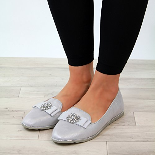 Flat On Ballerina Casual Slip New Shoes Embellished Pumps plimsolls Grey Larena Fashion Womens Comfy fwFBZ0tqx