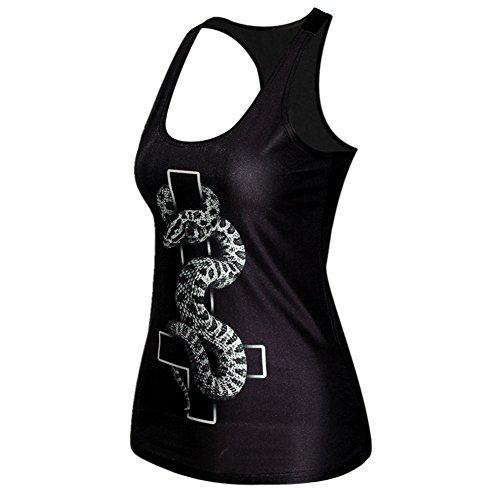Women Gothic Punk Tank Top Vest Blouse Pattern Print Clubwear Sleeveless T-shirt (10)