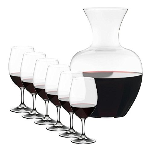 Riedel Ouverture Magnum Glasses + Apple Decanter, Clear, Set of 7 by Riedel