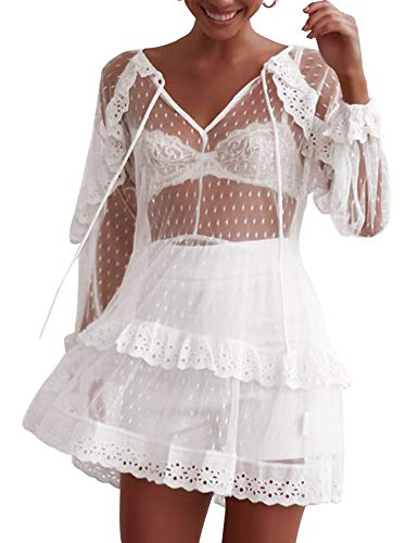 MIJIRUSHI Summer Womens Beach Wear Cover up Swimwear Bikini Lace Floral Beach Cover Up Dress, White, - Tiered Dress Mesh