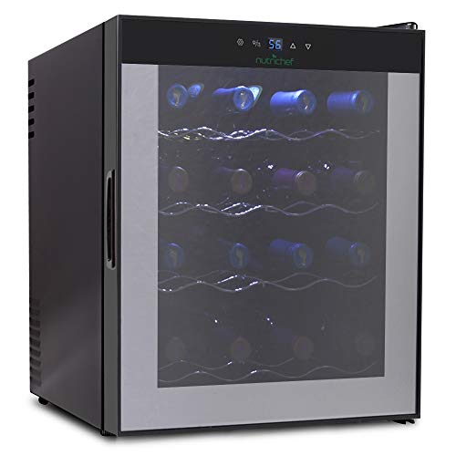 NutriChef 16 Bottle Thermoelectric Red And White Wine Cooler/Chiller, Counter Top Wine Cellar with Digital Control, Freestanding Refrigerator, Smoked Glass Door, Quiet Operation Fridge ()