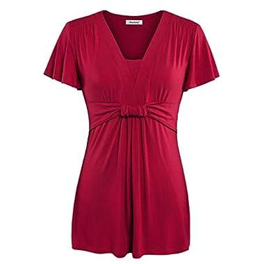 Ninedaily Women Tunics V-neck Ruffles Short Sleeve Draped Shoulder Blouse Tops