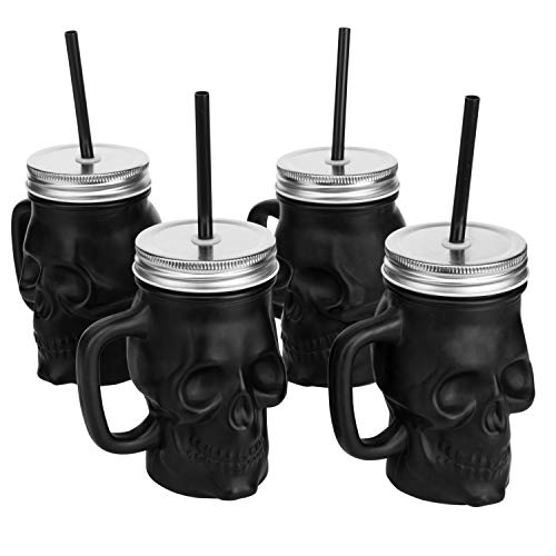 MyGift Set of 4 Matte Black Glass Skull-Shaped Drink Cups with Jar Lid & Straw
