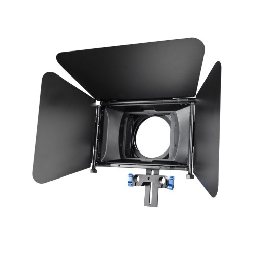 MARSRE Pro Matte Box with Filter Trays, Detachable Blades and Donuts for Canon Nikon Sony Panasonic and Other DSLR Video Cameras and DV Camcorders Fits 15mm Rod Film Making - Dv Filter Box Matte