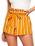 SweatyRocks Women's Casual Elastic Waist Seft Tie Summer Beach Shorts with Pockets Orange Large