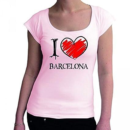 I Love Barcelona FUN Boat Neck t - Camiseta para mujer rosa small  Amazon.es   Ropa y accesorios 9b0416d034381