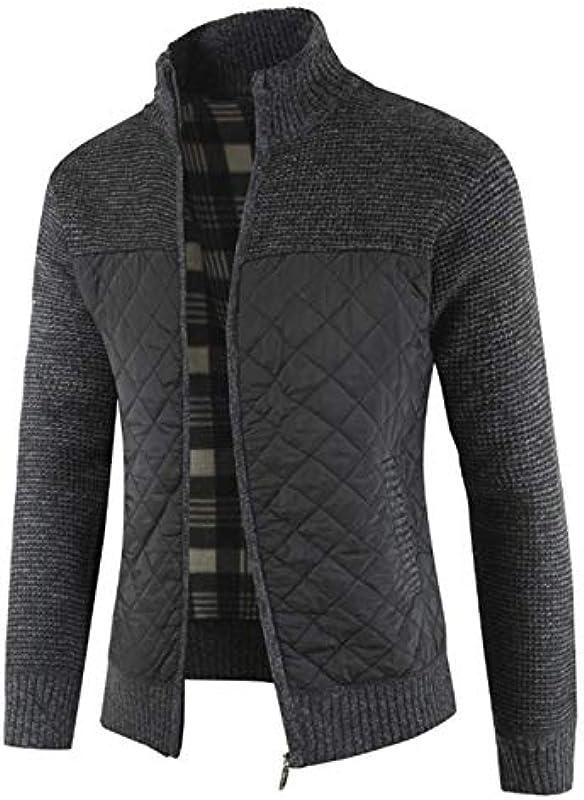 Cyiozlir męska kurtka z dzianiny, z zamkiem błyskawicznym, kardigan, kołnierz, płaszcz zimowy: Odzież