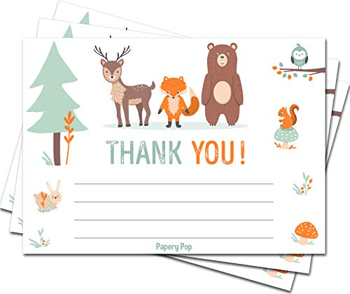 30 Woodland Thank You Cards with Envelopes (30 Pack) - Baby Shower Notecards - Baptism