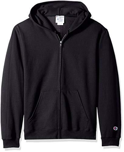 Champion Big Boys' Double Dry Fleece Full Zip Hooded Sweatshirt, Black, Large
