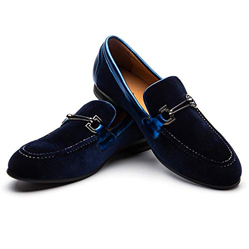 (Men Loafers Black Velvet with Braiding Flat Slip on Moccasins Men's Dress Shoes Genuine Leather Casual Shoes)