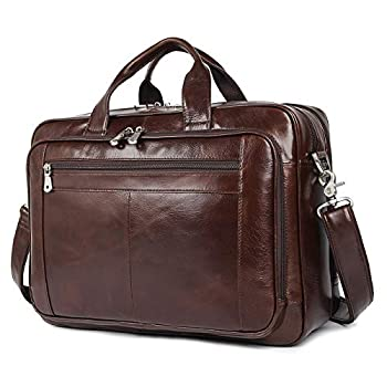 Image of Cases & Sleeves Augus Leather Briefcases for Men, Waterproof Travel Messenger Duffle Bags 17 Inch Laptop Bag (cofee-1)