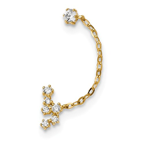 14k Yellow Gold Cubic Zirconia Cz Double Post