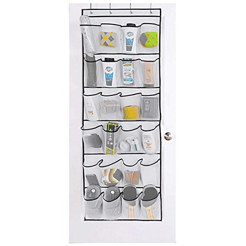 """HIPPIH Over The Door Shoe Organizer - 24 Large Mesh Storage Pockets with 4 Hooks, White (59 1/2"""" L x 22 1/2"""" W)"""