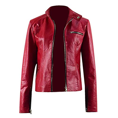 Xiao Maomi Alice Cosplay Claire Costume Red Leather Jacket Pants Jeans Full Set for Cosplay Events Party Halloween (US Women-XS, Red Jacket)