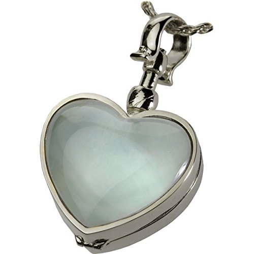 Memorial Gallery Victorian Glass Heart Locket Cremation Jewelry, 18'', Sterling Silver by Memorial Gallery