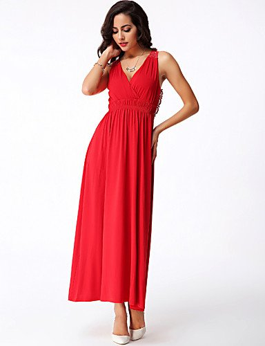 PU&PU Robe Aux femmes Gaine Sexy / Simple,Couleur Pleine Col en V Maxi Polyester / Spandex , red-xl , red-xl