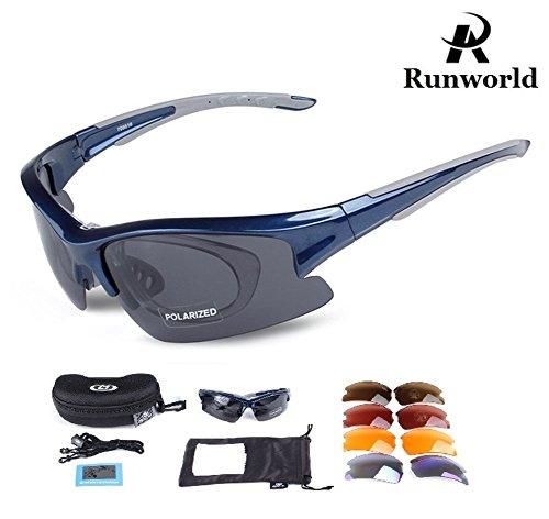 Runworld Polarized Sports Sunglasses UV400 Protection for Men Women with 5 Interchangeable Lenses Cycling Running Driving Baseball Glasses (Blue)