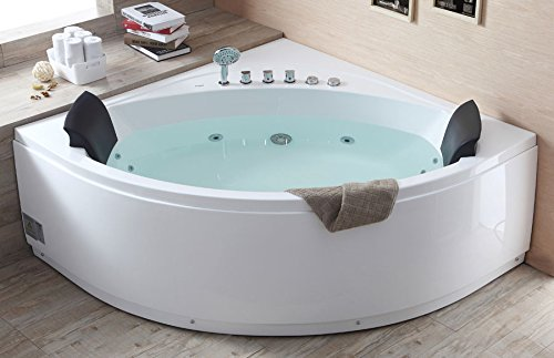Corner Whirlpool Bath (EAGO  AM200 5-Feet Rounded Modern Double Seat Corner Whirlpool Bath Tub with Fixtures)