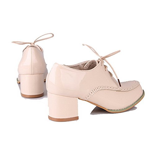 Rond Légeres Femme Talon À Agoolar Mélangee Chaussures Matière Correct Unie Lacet Beige Couleur zSfAqxnCw