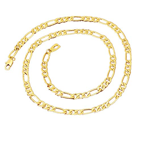 Daimay Gold Plated Necklace Jewelry Mens Stainless Steel Gold Chain Flat Herringbone Link - 5mm Width - 55CM - Gold