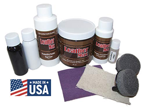 Leather Max Large Project Leather and Vinyl Repair Kit - Restorer of Your Furniture, Jacket, Sofa or Car Seat, Super Easy Instructions, Restore Any Material, Bonded, Pleather, Genuine (British - Leather Tan British Bonded