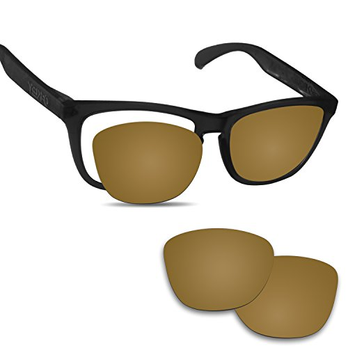Fiskr Anti-saltwater Replacement Lenses for Oakley Frogskins Sunglasses - Various Colors (Bronze Gold - Anti4s Mirror Polarized, 0) -