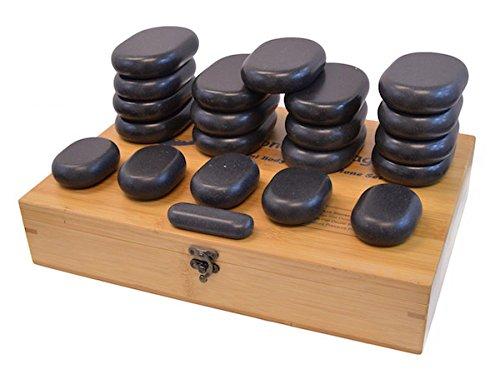 DevLon NorthWest Hot Stone Massage Kit Large Basalt Stones Set With Bamboo Box 21 PC