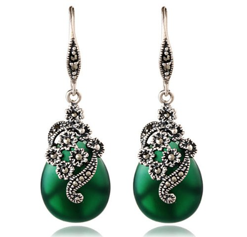 Sterling-Silver-Vintage-Oxidized-Marcasite-Accent-Emerald-Colored-Glass-Textured-Dangle-Earrings