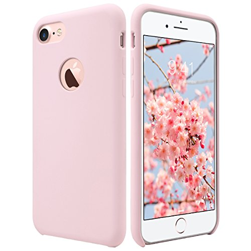 Iphone Pink Silicone (iPhone 7 Case, ULAK Pink Slim Fit Liquid Rubber & Silicone Protective Shock Absorption Cover with Soft Microfiber Cloth Lining Cushion for Apple iPhone 7 4.7 Inch,Pink)