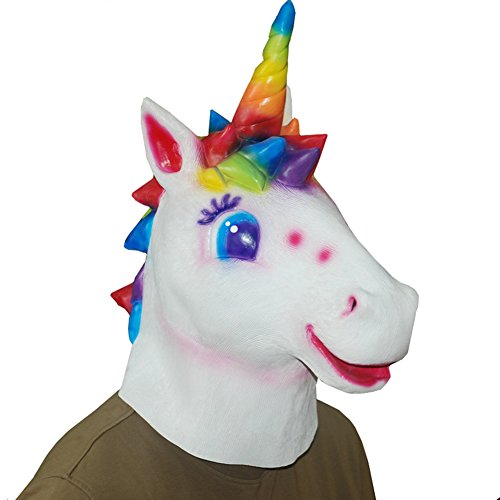 Emotion Masks (QTMY Latex Rubber Animal Unicorn Horse Mask for Halloween Party Costume)
