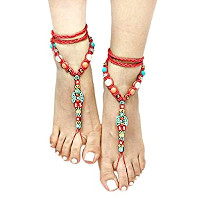 nice Bohemian Hippie beaded Barefoot Sandals Anklets / AZANBF103-RMU hot sale
