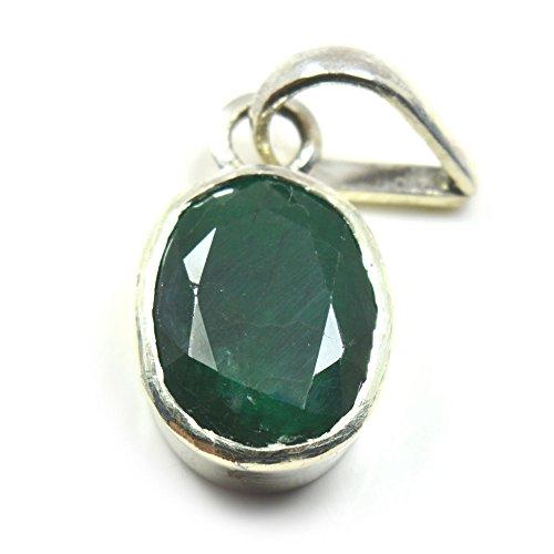 55Carat Natural Genuine Emerald Pendant 7 Carat Oval Simple Design in 92.5 Sterling Silver