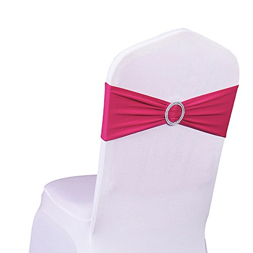 SINSSOWL 100PCS Stretch Wedding Chair Bands With Buckle Lycra Slider Sashes Bow Decorations 25 Colors (fushia) ()