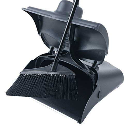 Lobby Dustpan With Self-Closing Lid And Broom,Long Handled Dustpan And Brush Set, Strong Stainless Steel Metal Handles,Black - Self Closing Lid